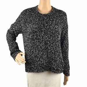 Vince Crew Neck Pullover Sweater Size M Black White Nubby Knit